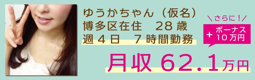 ゆうかちゃん(仮名):博多区在住:週4日 7時間勤務
